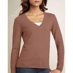 3/$50 100% Cashmere Carlson sweater bear brown L